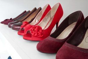 Multi shades of red shoes at Ishbels Wardrobe in Swindon